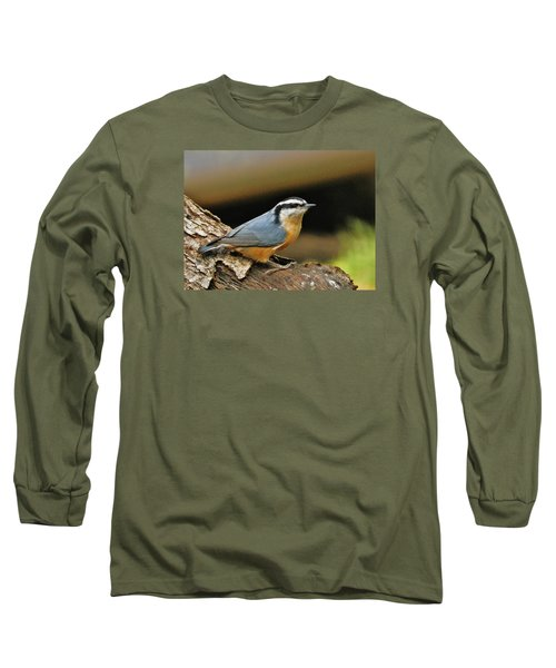 Long Sleeve T-Shirt featuring the photograph Nuthatch Pose by VLee Watson