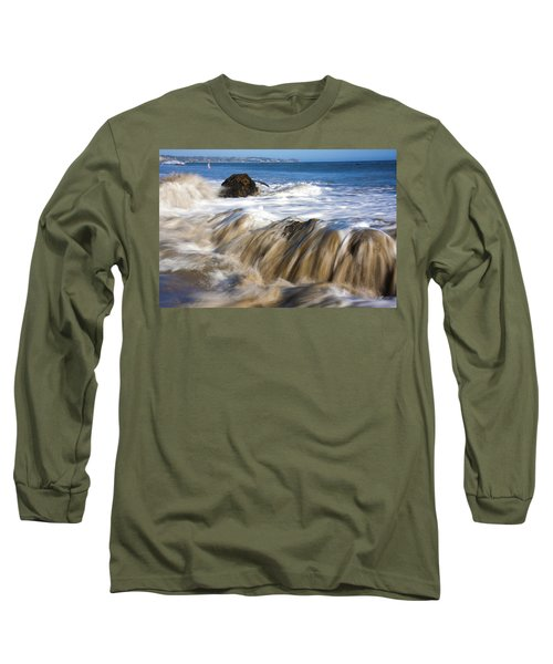 Ocean Waves Breaking Over The Rocks Photography Long Sleeve T-Shirt by Jerry Cowart