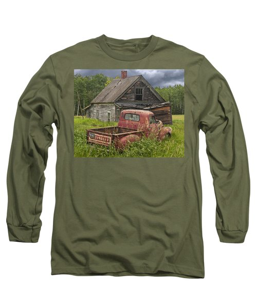 Old Abandoned Homestead And Truck Long Sleeve T-Shirt by Randall Nyhof