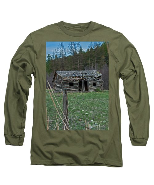 Long Sleeve T-Shirt featuring the photograph Old Abandoned Homestead Cabin Art Prints by Valerie Garner