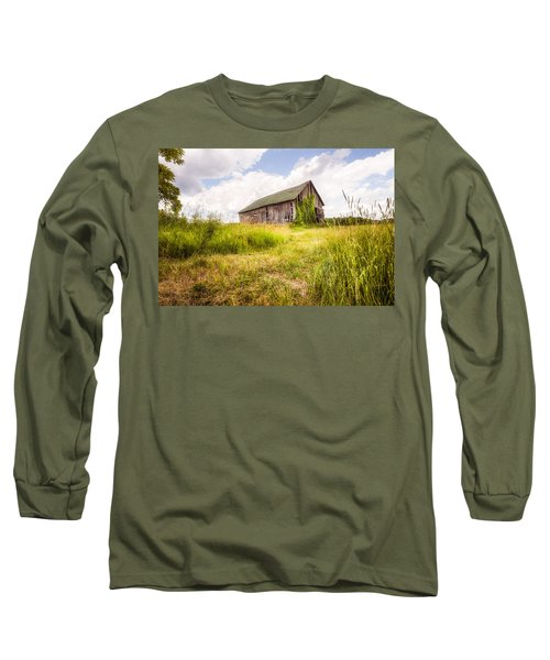 Long Sleeve T-Shirt featuring the photograph Old Barn In Ontario County - New York State by Gary Heller