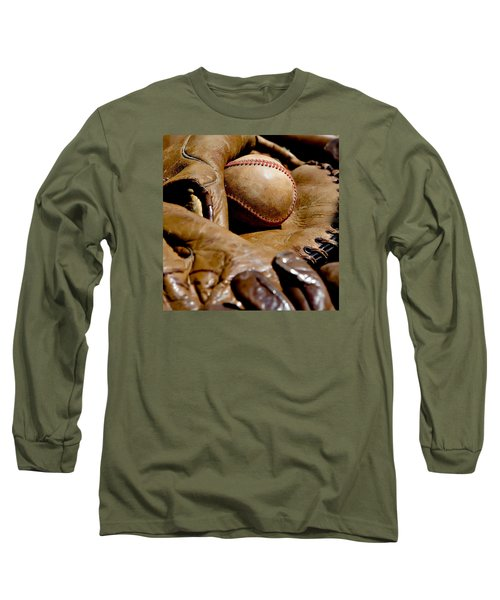 Old Baseball Ball And Gloves Long Sleeve T-Shirt by Art Block Collections