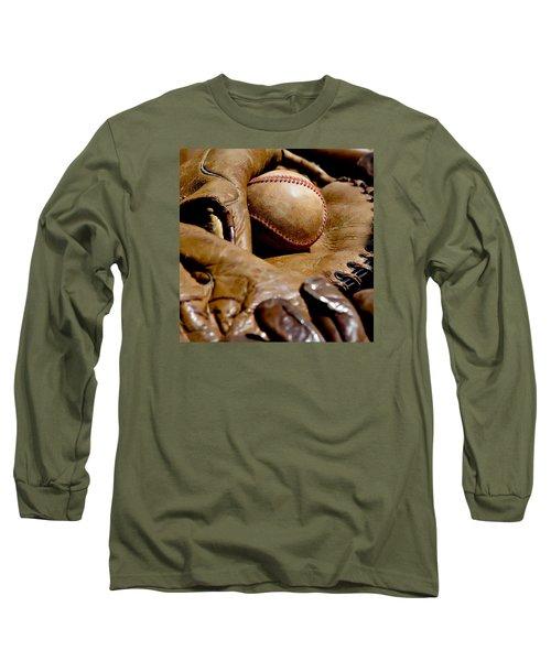 Old Baseball Ball And Gloves Long Sleeve T-Shirt