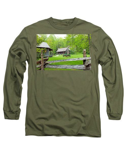 Old Cabins At The Cradle Of Forestry Long Sleeve T-Shirt