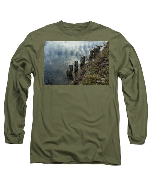 Old Dock Supports Along The Canal Bank - No 1 Long Sleeve T-Shirt by Belinda Greb