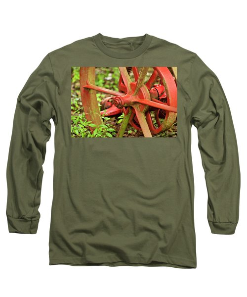 Old Farm Tractor Wheel Long Sleeve T-Shirt