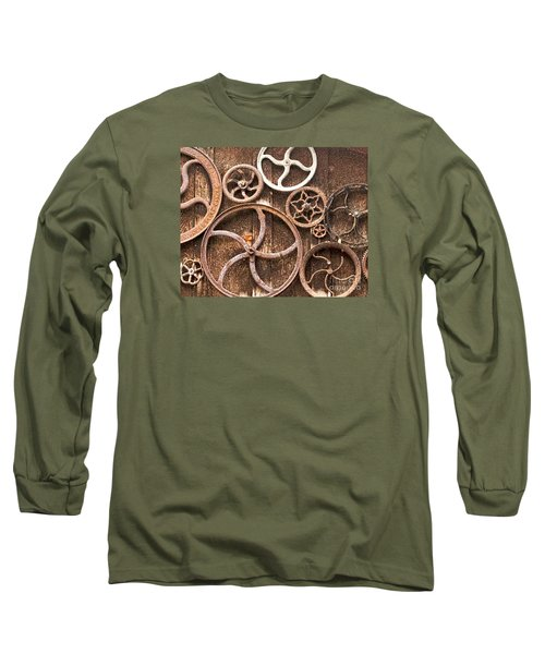 Long Sleeve T-Shirt featuring the photograph Old Gears In Genoa Nevada by Artist and Photographer Laura Wrede
