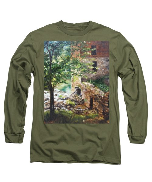 Long Sleeve T-Shirt featuring the painting Old Mill Stream I by Lori Brackett
