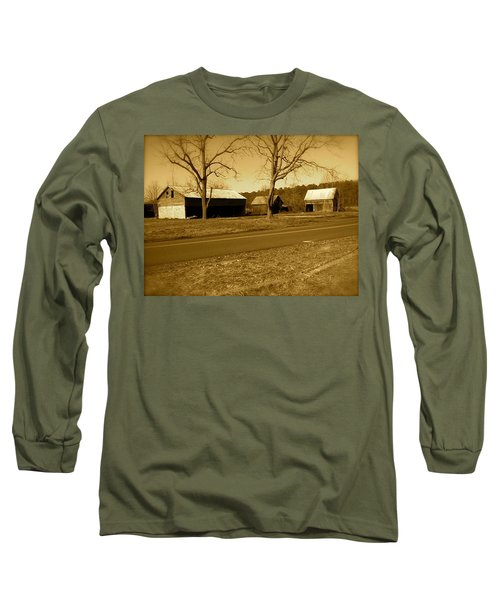 Old Red Barn In Sepia Long Sleeve T-Shirt by Amazing Photographs AKA Christian Wilson