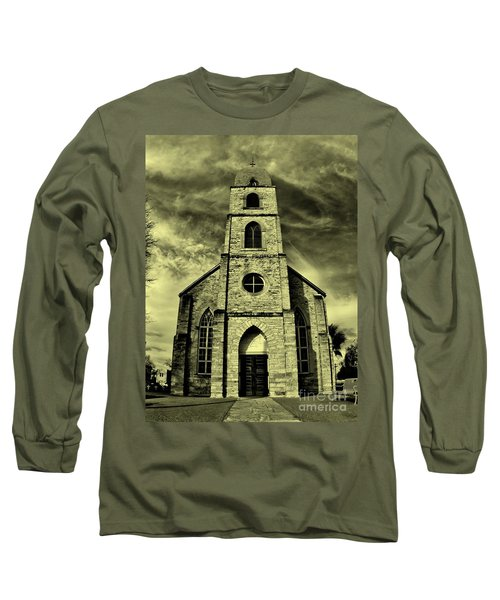 Old St. Mary's Church In Fredericksburg Texas In Sepia Long Sleeve T-Shirt