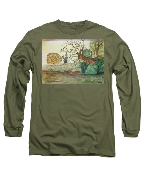 Old Willow And Boat Long Sleeve T-Shirt