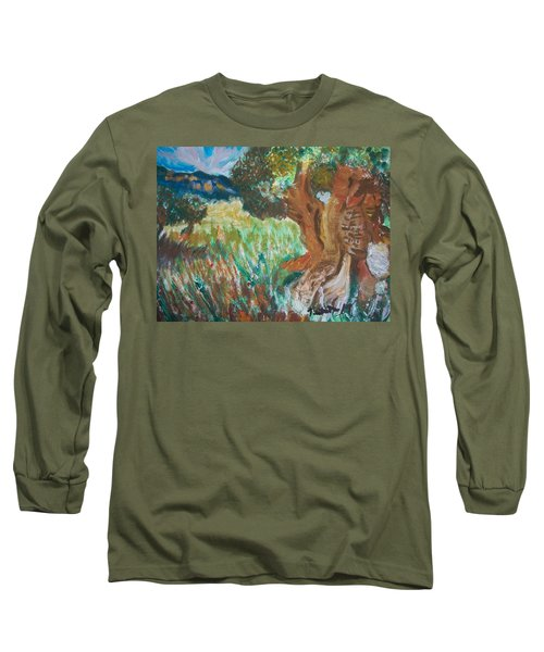 Long Sleeve T-Shirt featuring the painting Olive Trees by Teresa White