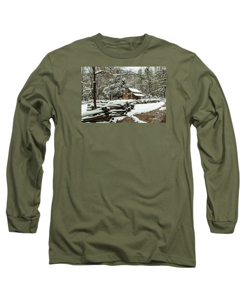 Long Sleeve T-Shirt featuring the photograph Oliver's Log Cabin Nestled In Snow by Debbie Green