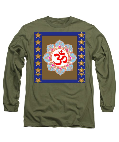 Long Sleeve T-Shirt featuring the photograph Om Mantra Ommantra Chant Yoga Meditation Tool by Navin Joshi