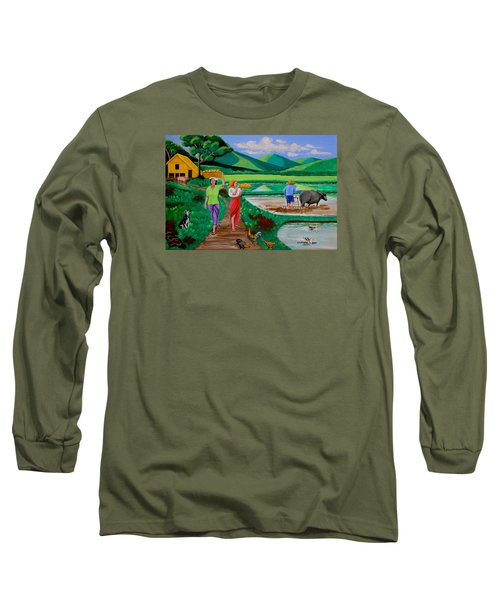 One Beautiful Morning In The Farm Long Sleeve T-Shirt by Lorna Maza