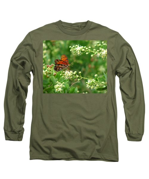 Long Sleeve T-Shirt featuring the photograph Orange Butterfly by Marcia Socolik