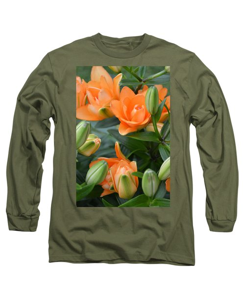 Orange Lily Long Sleeve T-Shirt by Tine Nordbred