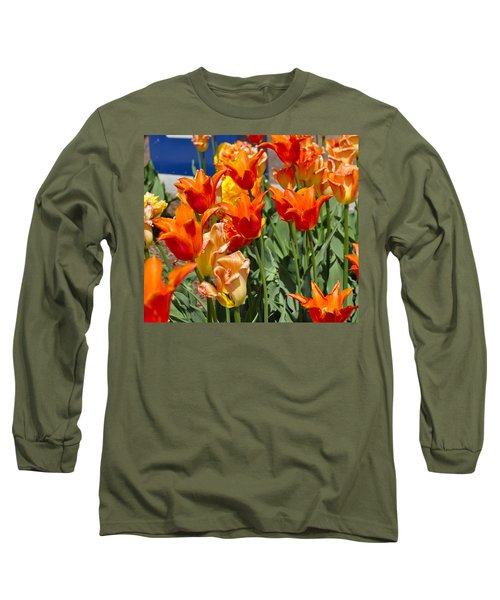 Orange Tulips Long Sleeve T-Shirt by Jim Brage