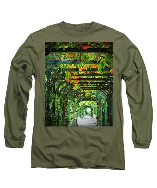 Long Sleeve T-Shirt featuring the photograph Oranges And Lemons On A Green Trellis by Brooke T Ryan