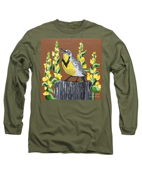 Long Sleeve T-Shirt featuring the painting Oregon Meadowlark by Jennifer Lake