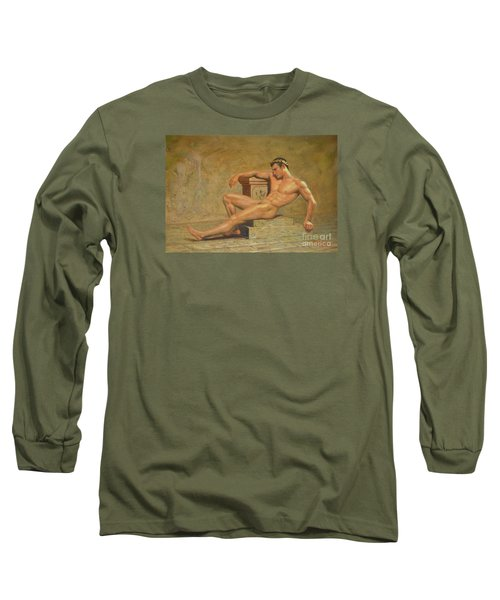Original Classic Oil Painting Gay Man Body Art Male Nude -023 Long Sleeve T-Shirt by Hongtao     Huang