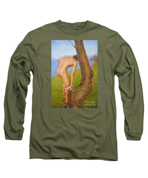 Original Oil Painting Man Body Art Male Nude-029 Long Sleeve T-Shirt by Hongtao     Huang