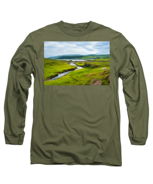 Osdale River Leading Into Loch Dunvegan In Scotland Long Sleeve T-Shirt
