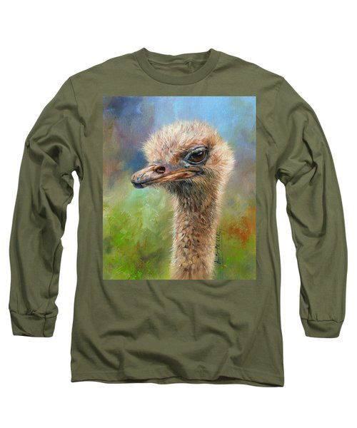 Ostrich Long Sleeve T-Shirt by David Stribbling