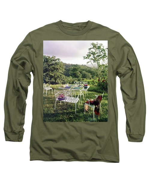 Outdoor Furniture By Lloyd On Grassy Hillside Long Sleeve T-Shirt