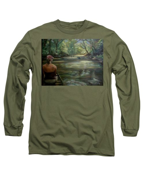 Long Sleeve T-Shirt featuring the painting Paddle Break by Donna Tuten