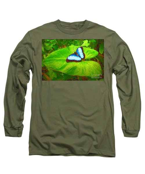 Long Sleeve T-Shirt featuring the photograph Painted Blue Morpho by Teresa Zieba