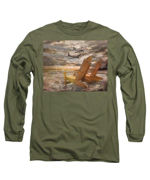 Pairs Along The Coast Long Sleeve T-Shirt by Betsy Knapp