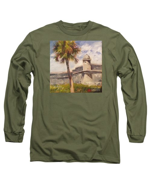 Palm At St. Augustine Castillo Fort Long Sleeve T-Shirt by Mary Hubley