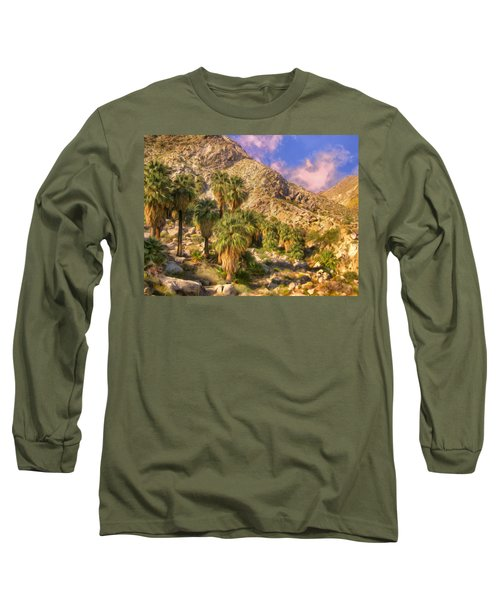 Palm Oasis In Late Afternoon Long Sleeve T-Shirt