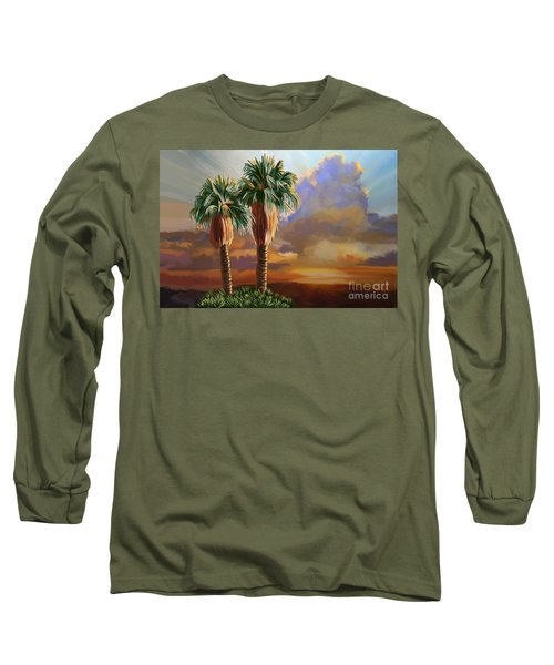 Long Sleeve T-Shirt featuring the painting Palm Tree Cabo Sunset by Tim Gilliland