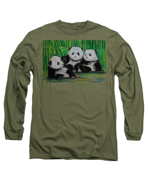 Panda Cubs Long Sleeve T-Shirt by Jean Cormier