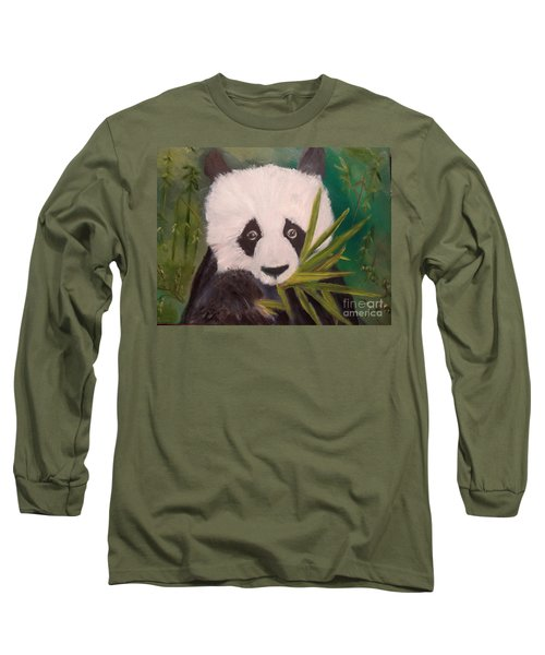 Long Sleeve T-Shirt featuring the painting Panda by Jenny Lee
