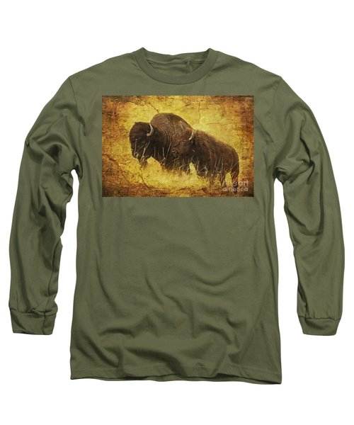 Long Sleeve T-Shirt featuring the digital art Parent And Child - American Bison by Lianne Schneider