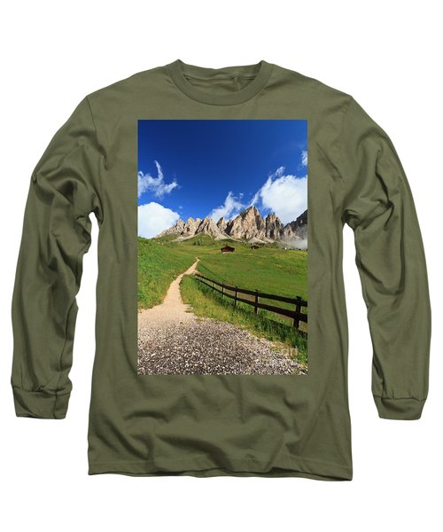Long Sleeve T-Shirt featuring the photograph path in Gardena pass by Antonio Scarpi