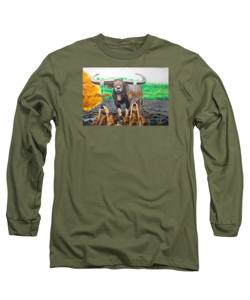 Long Sleeve T-Shirt featuring the painting Paths In The Soil  by Lazaro Hurtado