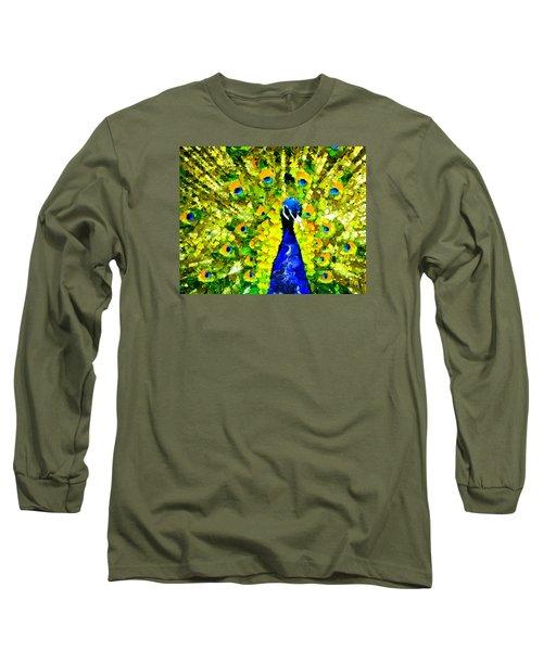 Peacock Abstract Realism Long Sleeve T-Shirt