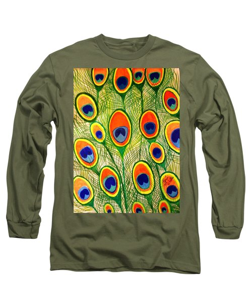 Peacock Feather Frenzy Long Sleeve T-Shirt