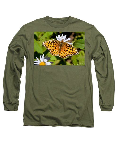 Pearl Border Fritillary Butterfly On An Aster Bloom Long Sleeve T-Shirt by Jeff Goulden