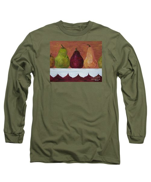 Long Sleeve T-Shirt featuring the painting Pears On Parade   by Eloise Schneider