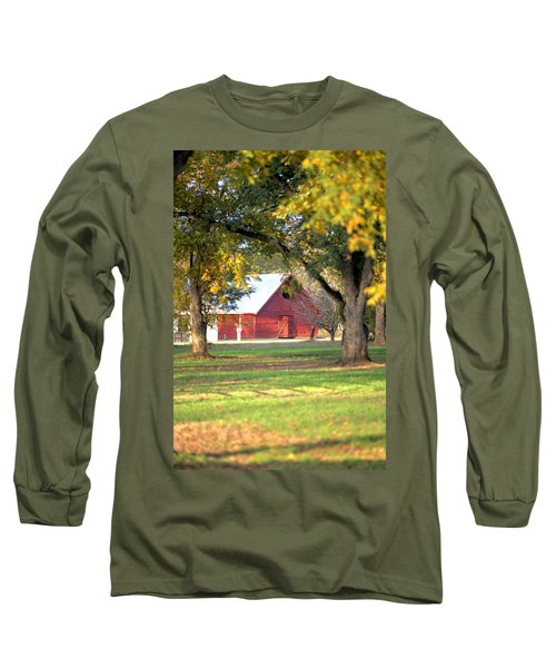 Long Sleeve T-Shirt featuring the photograph Pecan Orchard Barn by Gordon Elwell