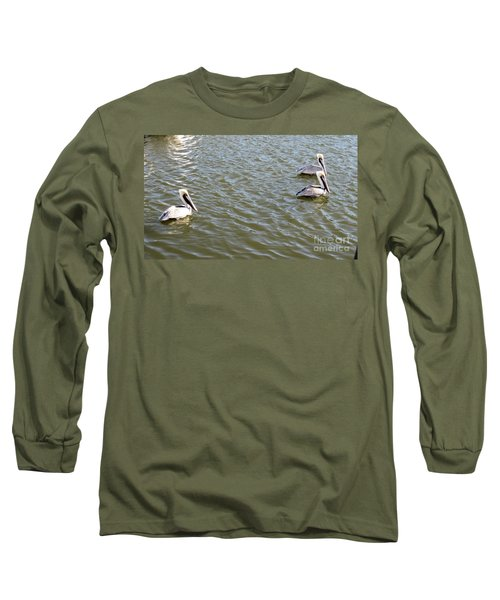 Long Sleeve T-Shirt featuring the photograph Pelicans In Florida by Oksana Semenchenko