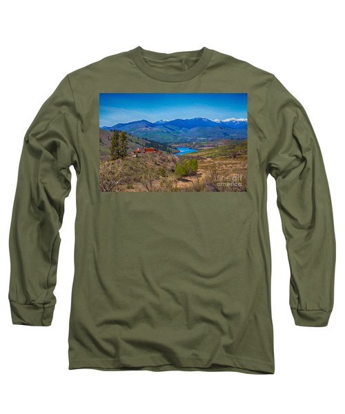 Long Sleeve T-Shirt featuring the painting Perrygin Lake In The Methow Valley Landscape Art by Omaste Witkowski