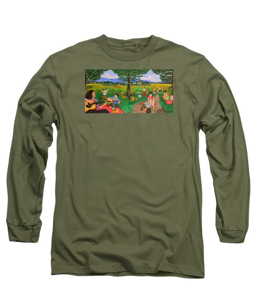 Picnic With The Farmers And Playing Melodies Under The Shade Of Trees Long Sleeve T-Shirt by Lorna Maza