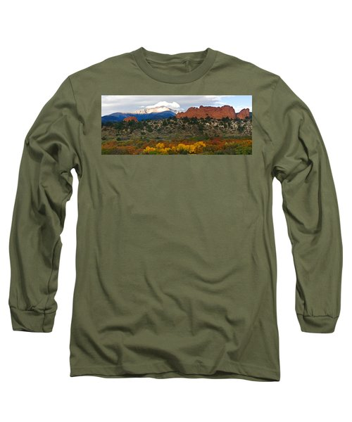 Long Sleeve T-Shirt featuring the photograph Pikes Peak Fall Pano by Ronda Kimbrow