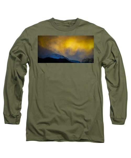 Pike's Peak Snow At Sunset Long Sleeve T-Shirt